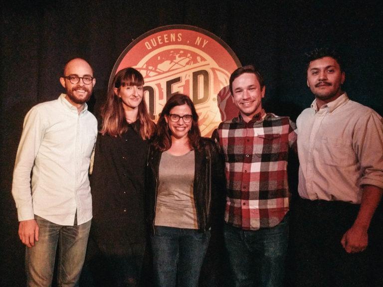 Evan, Pat, Maris Kreizman, and Parrot Dream on stage