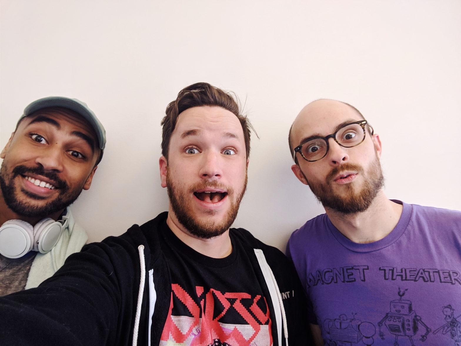 Michael Stevens, Patrick Cartelli, and Evan Forde Barden taking a selfie together