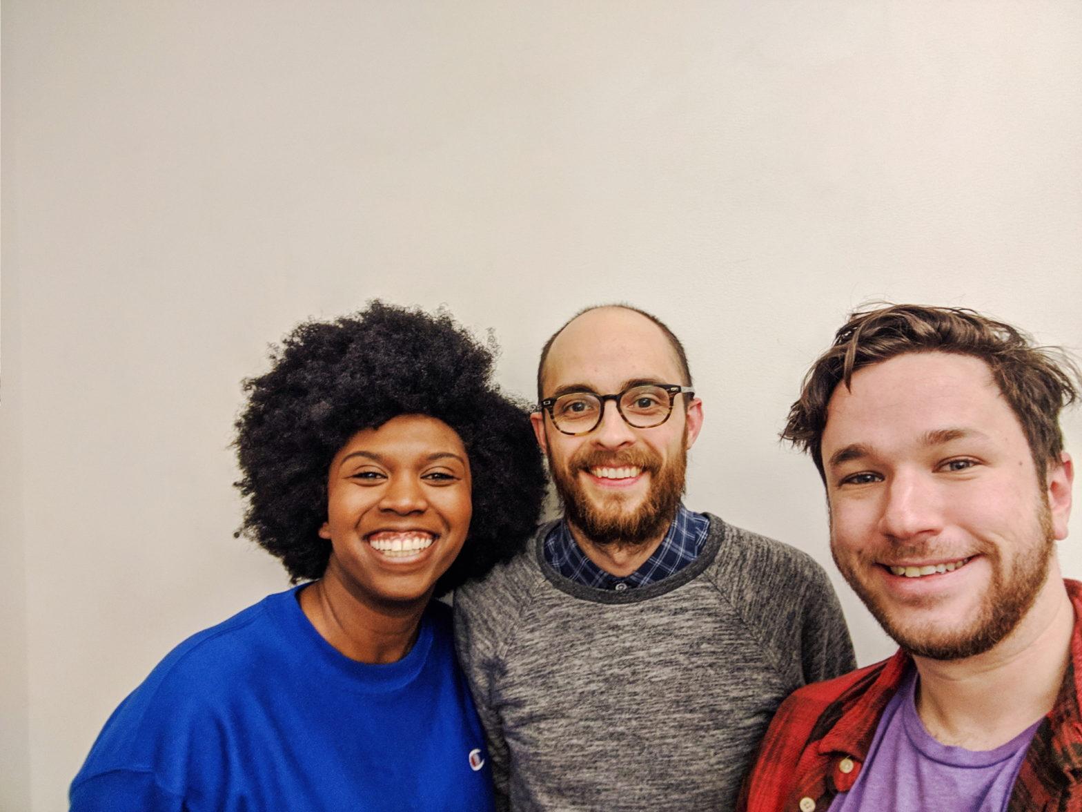 Rachel Pegram, Evan Forde Barden, and Patrick Cartelli taking a selfie