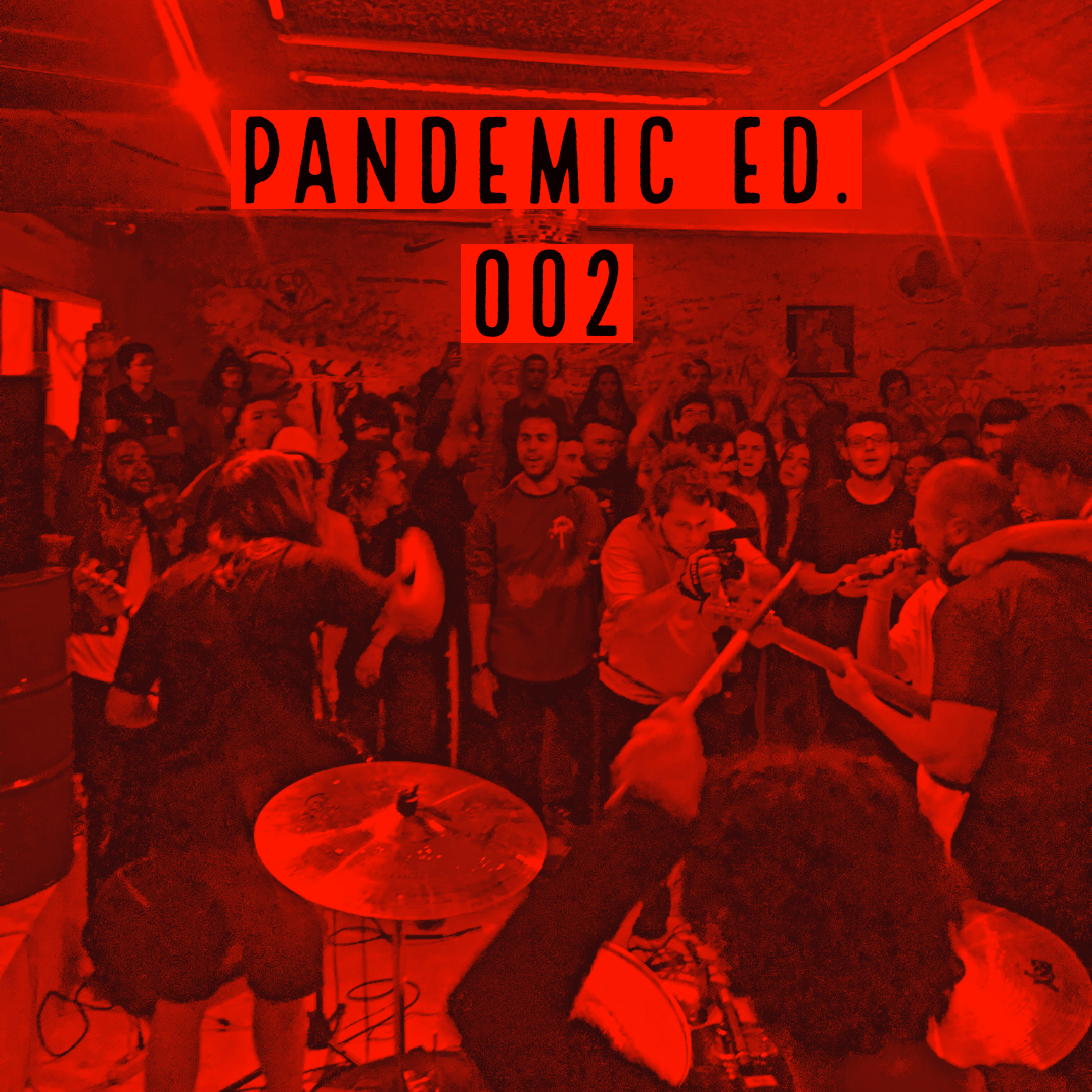 "Red-tinted image of a punk band playing in Sao Paolo, Brazil with ""Pandemic Ed. 001"" black text up top."
